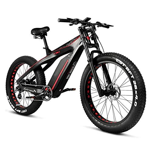 HMEI Bicicleta eléctrica para Adultos 50 mph 1000W/ 750W Motor 26' 4. 0 Llanta de Grasa Bicicleta eléctrica de montaña Fibra de Carbono Todo Terreno Choque de Hombro Nieve Bicicleta eléctrica