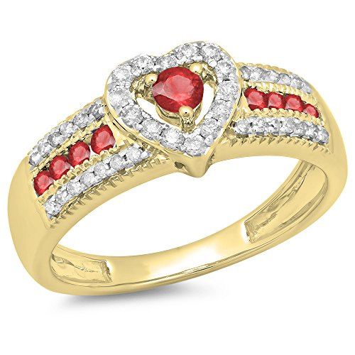 Dazzlingrock Collection 10K Round Ruby & White Diamond Ladies Bridal Heart Shaped Promise Engagement Ring, Yellow Gold, Size 8