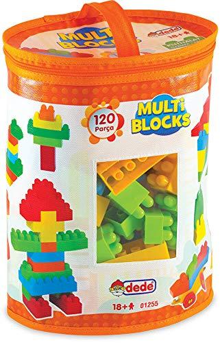 Dede Multi Blocks, 120 teilig, Transparente Aufbewahrungstasche, Geeignet für Kinder über 18 Monate