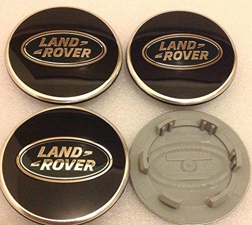 4x Land Rover 63mm Buje Tapas Buje Tapa Tapacubos Llanta Tapa Cromo Negro