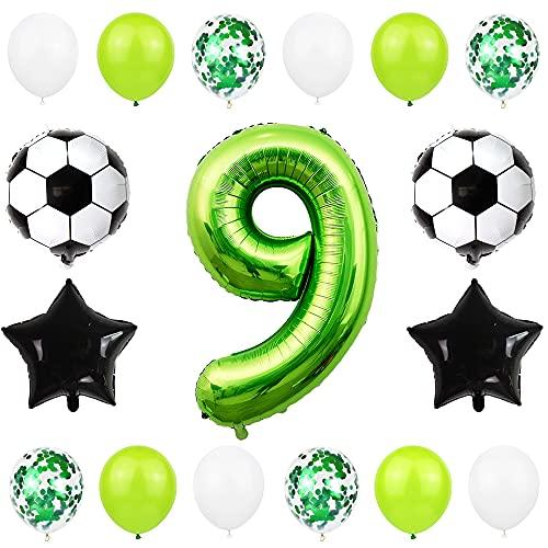 Liitata Globos de fútbol para 9º cumpleaños decoración de 40 pulgadas número 9 color verde balón de fútbol estrella negro confeti globos para niños jóvenes cumpleaños fiestas fútbol decoración