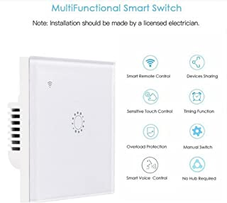 Vuffuw Smart Wireless Dimmer Switch, WiFi Smart Touch Switch Compatible with Alexa and Google Home, 1/2/3 Gang Wireless Glass Touch Panel Timer Wall Light Switch, Smart Phone Remote Control