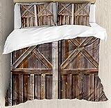 Set copripiumino rustico, vecchia porta del fienile in legno di casa di campagna in rovere campagna villaggio vita rurale stampa fotografica, decorativo set di biancheria da letto 3 pezzi con 2 federe