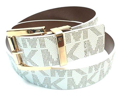 Michael Kors Mk Signature Monogram Logo Reversible Gold Buckle Belt Reversible Vanilla White/Brown Size Medium