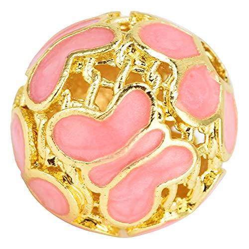 HAOX Cuentas Sueltas, Amuleto Redondo Exquisito abalorio de cloisonné Vintage para Collar para Accesorios con Cuentas para Pulsera(Pink)