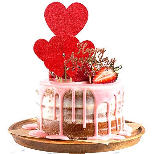 Skystuff - Topper per torta con scritta 'Happy Anniversary' in oro rosa e 7 decorazioni per torte a forma di cuore, per anniversari, matrimoni, feste di compleanno