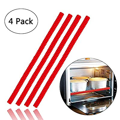Oven Rack Shields - 4 Pack Heat Resistant Silicone Oven Rack Cover 14 inches Long Oven Rack Edge Protector, Protect Against Burns and Scars