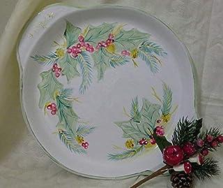 Vassoio Per Bicchieri e Tazzine - Ceramica - Diametro 25cm - Decorazione Natalizia - Dipinto a Mano - Le Ceramiche Del Re