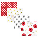 Hudson Baby Unisex Baby Cotton Flannel Receiving Blankets, Poppy/Daisy, One Size
