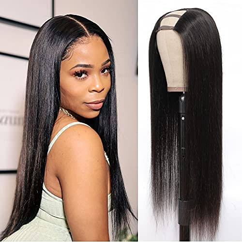 Mesariel U Part Wig Human Hair for Black Women 14' 9A Brazilian Straight Human Hair Wigs 150% Density 2'x4' U-Part Glueless None Lace Front Wigs with Clips and Combs Natural Color