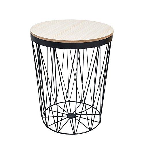 Invicta Interior Moderner Couchtisch Beistelltisch Storage II aus Metall schwarz mit Holzdeckel Korb Aufbewahrung Tisch mit Eiche Ablage Aufbewahrungkorb
