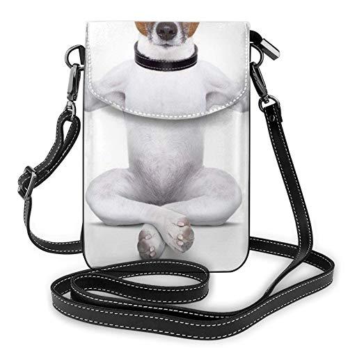 QQIAEJIA Monedero divertido del teléfono del perro del perrito de la yoga, monedero del teléfono del cuero de la PU, bolso del teléfono móvil de las señoras, paquete de la tarjeta