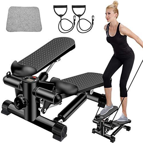 BSET BUY Mini Stepper, Twister Stepper con Power Ropes, Stepper per casa, step Fitness Attrezzature regolabili con display LCD per allenamento indoor