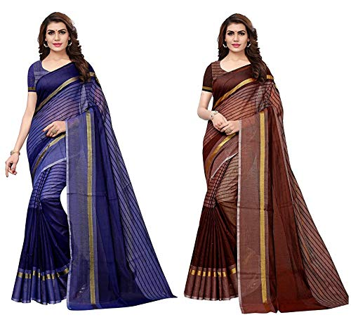 Anni Designer Cotton Saree with Blouse Piece (Pack of 2) (TS02 Blue Brown_Multicolor_Free Size)