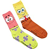 Officially Licensed Spongebob Squarepants Socks Fits men's Shoe Size 6-12 Includes 2 Pairs (1 pair of each design) 97% polyester, 3% spandex Machine washable