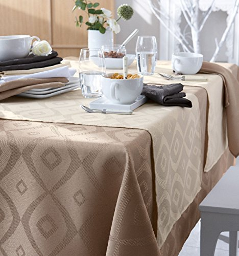 Tradilinge ~ Nappe Brunch Taupe Polyester Ovale 180x240