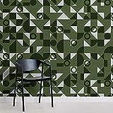 Fotomural Efecto Azulejo Geométrico Bauhaus Verde Musgo Pared Pintado Papel tapiz 3D Decoración dormitorio Fotomural sala sofá mural-250cm×170cm