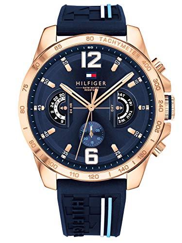 Tommy Hilfiger Unisex Multi Zifferblatt Quarz Uhr mit Silikon Armband 1791474