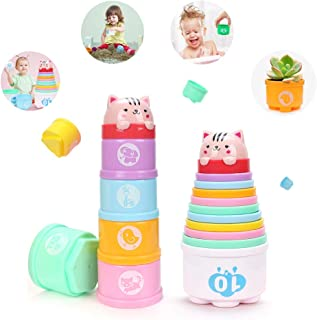 Alagoo Stacking Cups Baby Building Set, Nesting Cups Embossed Animal, Numbers, Colors Stacking and Sorting Nesting Toys for Kids Bathtub, Beach, Water Toy(11 Pcs)