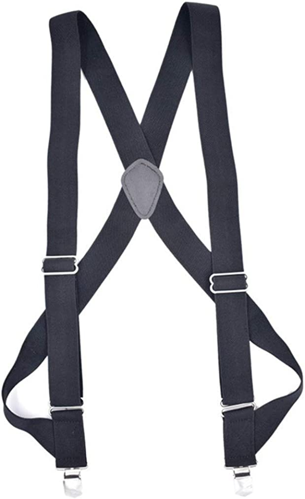 Sevenfly X Back Suspenders for Men with Heavy Duty Clips Wide Adjustable Elastic Braces Clips