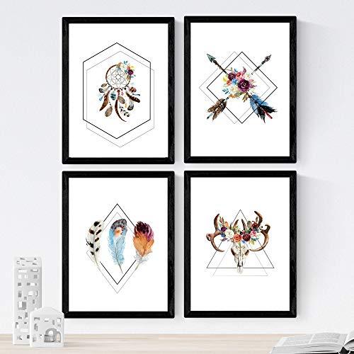 Nacnic Set de 4 láminas de Formas Geometricas Y Plumas Boho,en tamaño A4, Poster Papel 250 gr Marco