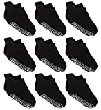 Zaples Baby Non Slip Grip Ankle Socks with Non Skid Soles for Infants Toddlers Kids Boys Girls, Black, 12-36 Months