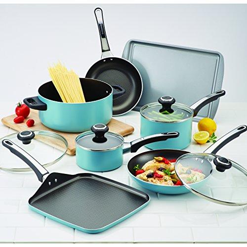 Farberware High Performance Nonstick Cookware Pots and Pans Set Dishwasher Safe, 17 Piece, Aqua