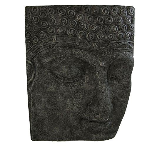 Edenjardi Relieve de Cara de Buda Gigante en Color Plata | Tamaño: 94x15x122 cm | Portes Gratis