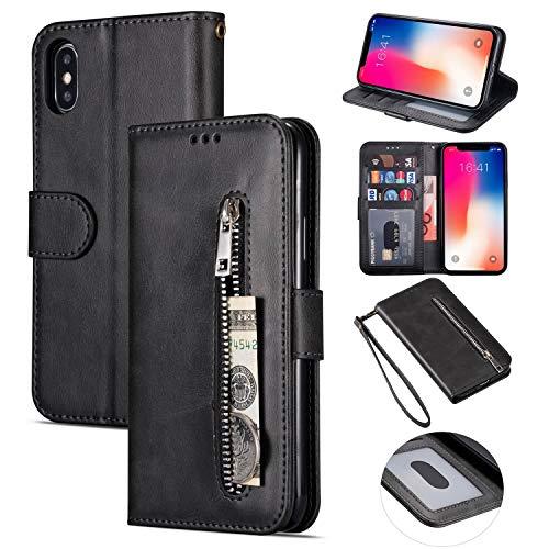 ZTOFERA iPhone XR Hülle, Magnetisch Folio Flip Wallet Leder Standfunktion Reißverschluss schutzhülle mit Trageschlaufe, Brieftasche Hülle für iPhone XR - Schwarz