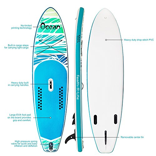 FAYEAN Inflatable Stand Up Paddle Board Round SUP ISUP Board 10.5' x 33''x 6'' Thick Includes Pump, Paddle, Backpack, Coil Leash,Fin and Universal Waterproof Case