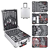 Hengda Werkzeugkoffer 1031 teilig Alu Werkzeugkasten Werkzeugkiste gefüllt Set abschließbar Werkzeugtasche Werkzeug-Trolley 4 Ebenen Rollkoffer