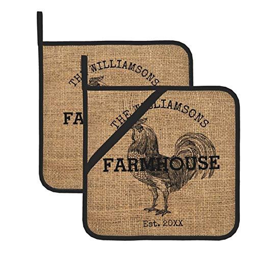 wellay Juego de 2 agarraderas, rústica, vintage, apellido de la familia granja gallo kicthen almohadillas calientes, lavables, resistentes al calor, ideal para parrilla, hornear, cocinar