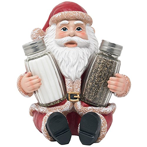Whimsical Santa Claus Salt and Pepper Shaker Set Figurine As Display Stand Spice Rack Holder Statue For Decorative Christmas Kitchen Decor & Holiday Decorations Or Xmas Gifts for Mom
