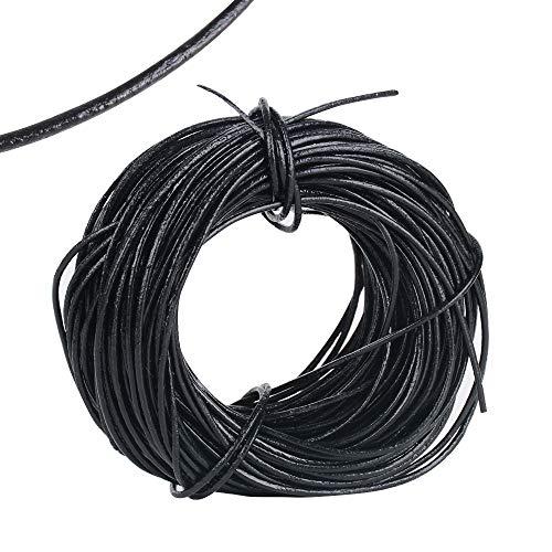 MEJOSER 1 mm x 20 Yard Rund Lederschnur Lederband Lederriemen Band Faden zum Basteln für DIY Anhänger Armband Halskette Perlen Schmuck Handwerk Schwarz Rindlederband