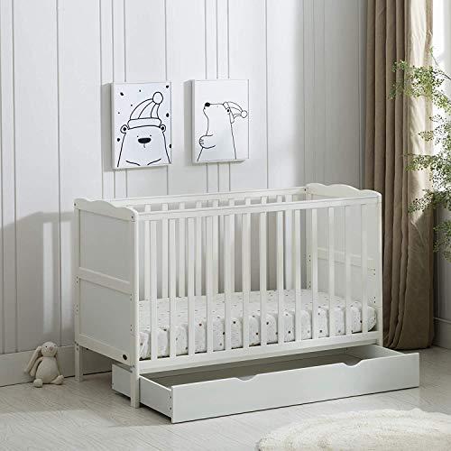 MCC White Wooden Baby Cot Bed & Drawer & Aloe Vera Water Repellent Mattress(Orlando)