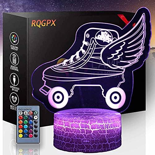 3D Lámpara de ilusión Óptica Patinaje de Rodillos de Humor Multicolor Luz Blanco Cálido Cambio Mesa Mesa de Escritorio Regalo de Vacaciones Juguete