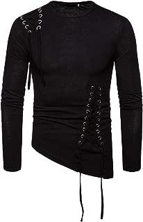 iLOOSKR Autumn Men Drawstring Solid O-Neck Shirt Long Sleeve Asymmetric Casual Tops Blouse T-Shirts