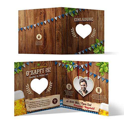Lasergeschnittene Einladungskarten (30 Stück) Oktoberfest Geburtstag Bayern - O'zapft is! Blau mit Foto