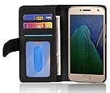 Cadorabo Hülle für Motorola Moto G5 Plus in Oxid SCHWARZ – Handyhülle mit Magnetverschluss & 3 Kartenfächern – Hülle Cover Schutzhülle Etui Tasche Book Klapp Style