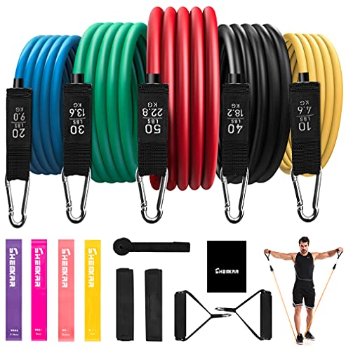 Resistance Bands Set 17pcs Exercise Bands Stackable 5 Training Tube Up to 150lb, Durable Stretch Workout Bands with Handles, Ankle Straps, Door Anchor, Home Gym Workout Fitness Band Set for Men Women