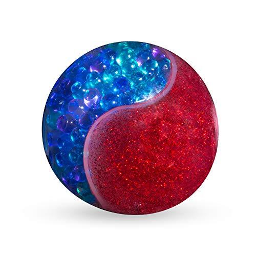 ORB 35604 Odditeez Halfzeez Ballz Red, Glitzerschleim und halb mit Orbeez gefüllter Antistressball, Schleimball ca. 10 cm, Slimeball für Kinder ab 8 Jahre, rot/blau