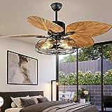 Andersonlight - Ventilador de techo de la industria de la palma tropical, 5 luces, 5 aspas grandes, mando a distancia, acabado en negro, 132 cm