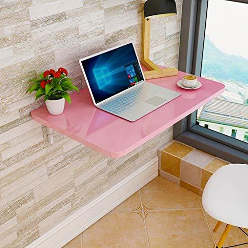 AFEO-TV montage Wandmontage Computer Bureau Wandplank Zwevende Plank Notebook Bureau Leren Tafelset Top Box Router Opslag Plank Koffie Shop Restaurant Tafel Opvouwbaar, 90 * 40 cm, roze