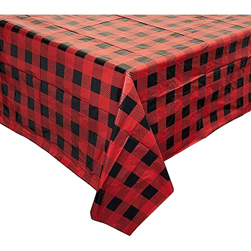 3 Pack Buffalo Plaid Plastic Table Cover (54 x 108 in)
