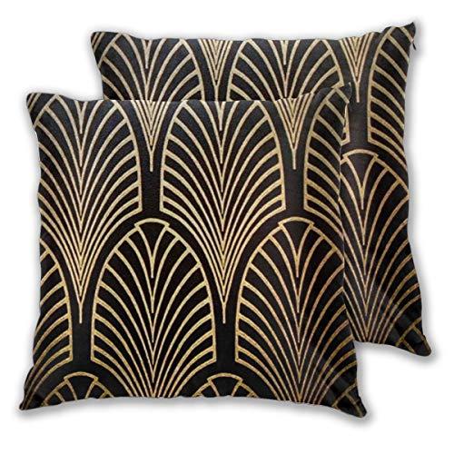 LIU&BAG Lot de 2 housses de coussin Art Nouveau Noir Bronze Doré Art Deco en coton (50 x 50 cm)