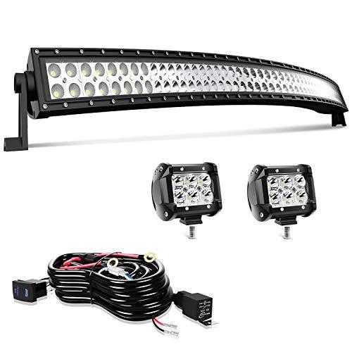 "52"" LED Light Bar T-Former Curved 300W Light Bars Off Road Lights with Rocker Switch Harness Wiring for Trucks Polaris ATV UTV Jeep Boats"