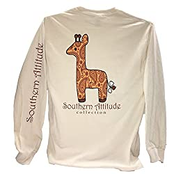 Southern Attitude Giraffe Preppy Natural Long Sleeve Shirt
