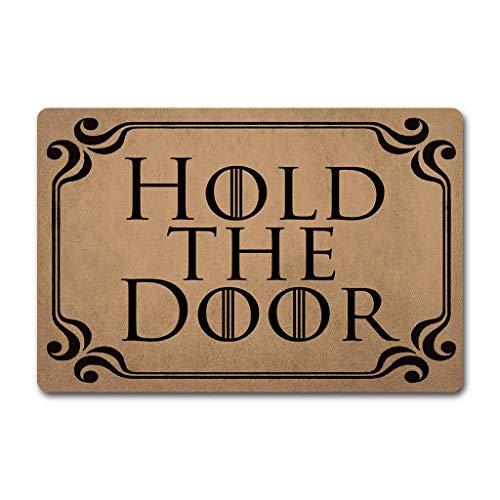 """Felpudo ZQH WelcomeDoor con diseño de Juego de Tronos y texto """"Hold The Door"""", con monograma, de tela no tejida, con parte superior de goma antideslizante, de 60 x 40 cm"""