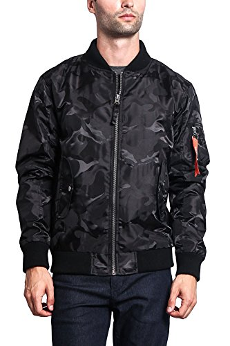 G-Style USA Men's Lightweight Tonal Camo Bomber Flight Jacket JK774 - Black - Medium - H8C