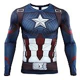 HIMIC E77C Hot Movie Super Hero Quick-Drying ElasticT-Shirt Costume (Large,Captain 5)